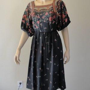 Neiman Marcus Vintage 1970s Boho Floral Dress